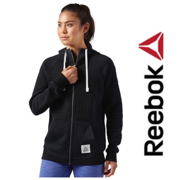1810b422 Reebok Training Black Quilted Zip Hoodie Sweater